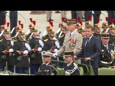 Macron arrives at downsized Bastille Day