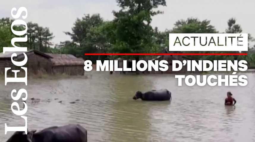 Illustration pour la vidéo La mousson provoque des inondations meurtrières en Inde