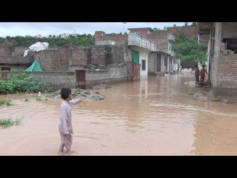 Streets flooded in Pakistan's Rawalpindi after heavy rain