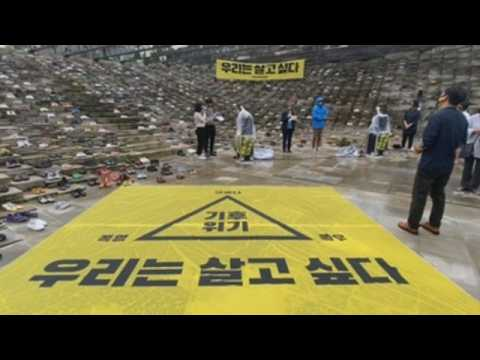 Activists protest against climate change in Seoul