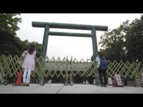 Prayers at Yasukuni Shrine in Tokyo on eve of World War II 75th anniversary