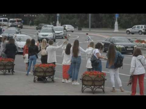 Belarusian women protest against Lukashenko in Minsk