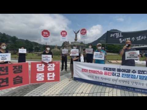 Activists rally against joint South Korea-US military exercises
