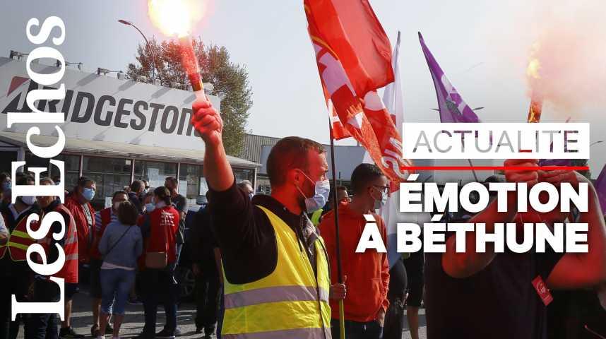 Illustration pour la vidéo Emotion à Bethune après l'annonce de la fermeture de l'usine Bridgestone
