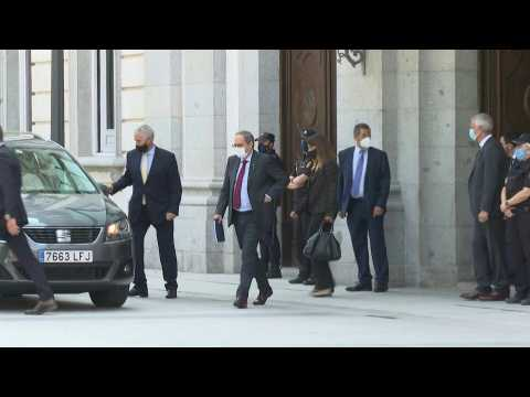 Catalan leader Quim Torra leaves court after case hearing
