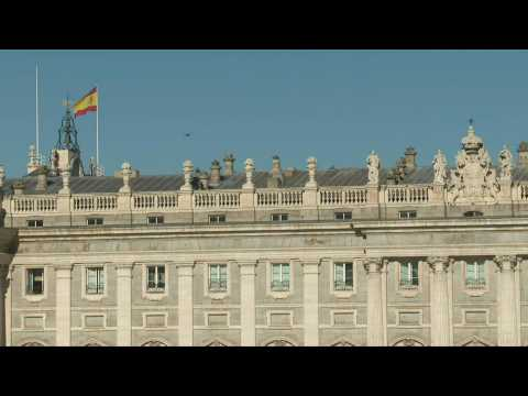 Scene outside Madrid's Royal Palace as Spain's ex-king Juan Carlos heads for exile