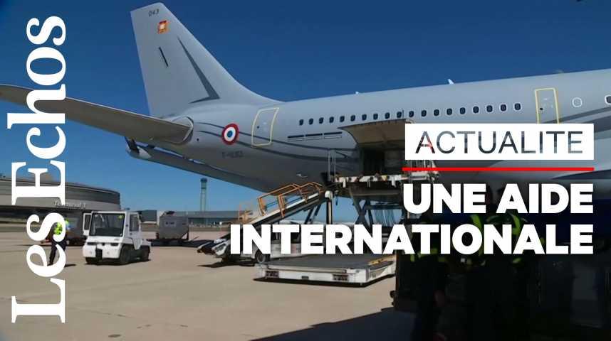Illustration pour la vidéo L'aide internationale arrive au Liban après une double explosion à Beyrouth