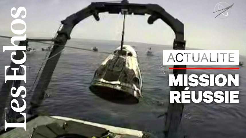 Illustration pour la vidéo SpaceX a ramené sur Terre deux astronautes, une première