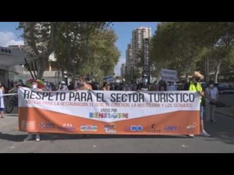 Hundreds of people urge measures to reactivate tourism industry in Benidorm, Spain