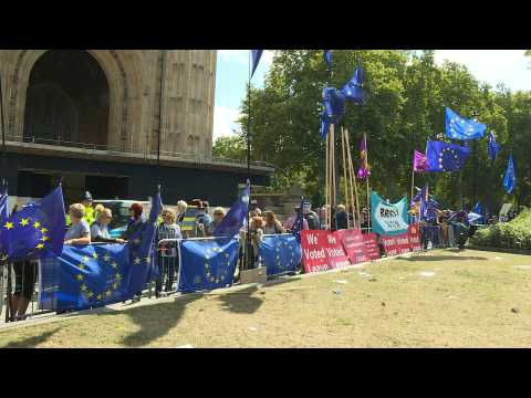 Pro and anti-Brexit protesters gather at Westminster ahead of decisive day