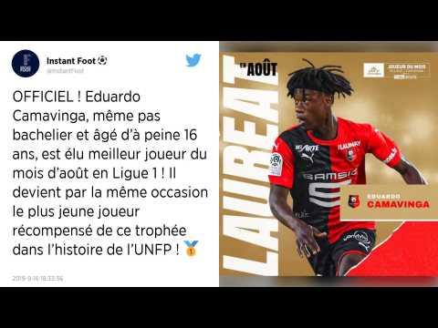 Stade Rennais. Eduardo Camavinga élu joueur du mois d'aout en Ligue 1 et bat un record de précocité?!