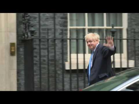 Boris Johnson arrives back at Downing Street from UN