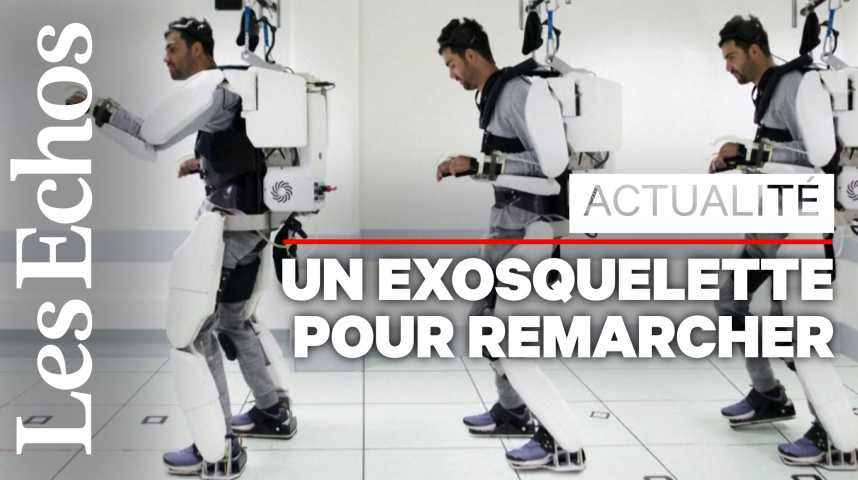Illustration pour la vidéo Un exosquelette permet à un patient tétraplégique de marcher