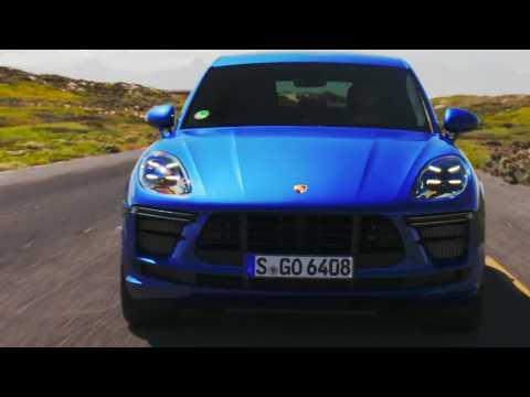 Porsche Macan Turbo in Sapphire Blue Metallic Driving Video