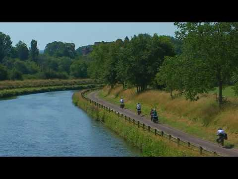 Bike riding along France's Saône River