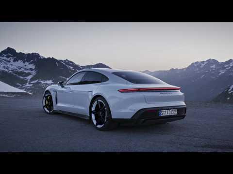 The new Porsche Taycan Turbo S Design in white