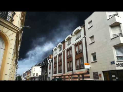 Thick smoke in Northern France after chemical plant fire