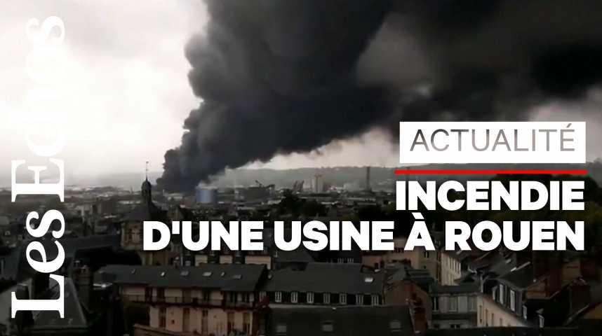 Illustration pour la vidéo L'incendie de Lubrizol à Rouen éteint, les inquiétudes demeurent