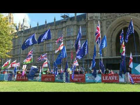 Scene outside British Parliament ahead of Brexit deal debate