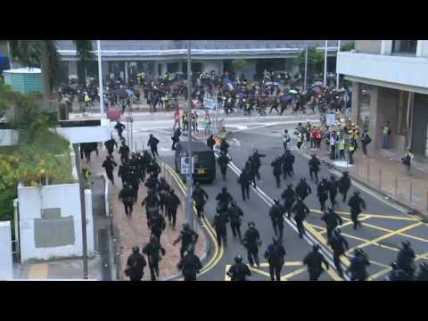 Police charge and make arrests at Hong Kong anti-China rally