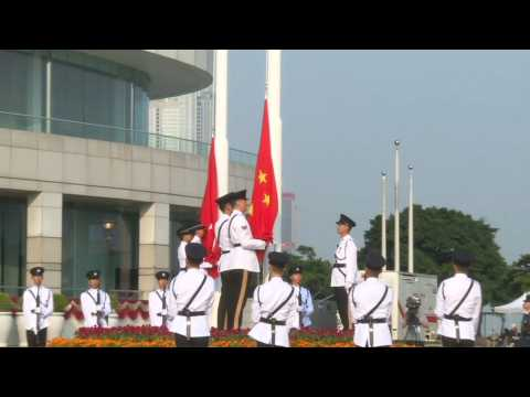 Flag-raising ceremony in Hong Kong as China celebrates National Day