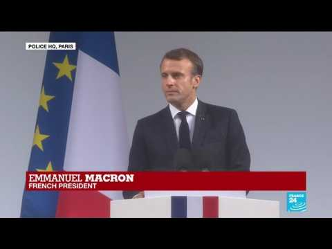 France police HQ attack: French president Emmanuel Macron pays tribute to the victims