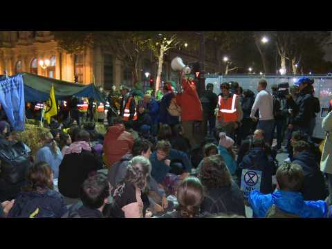 Paris climate activists camp overnight in Extinction Rebellion protests