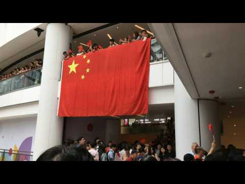 Pro-Beijing supporters gather at Hong Kong mall