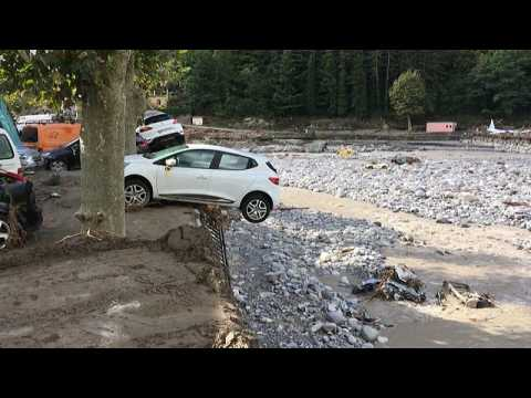 Watch: Cars and houses buried by mud as France battered by storms