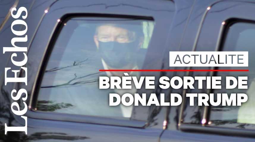 Illustration pour la vidéo Donald Trump salue ses partisans lors d'une brève sortie polémique de l'hôpital