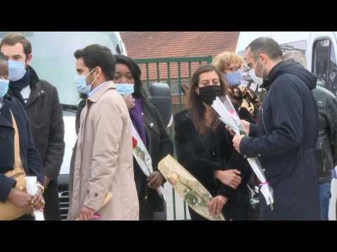 France: Local residents and parents pay tribute to the murdered teacher