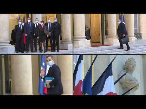 French police unions meet with president Macron in Paris