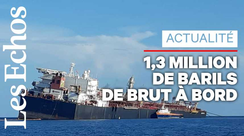 Illustration pour la vidéo Un pétrolier vénézuélien endommagé fait craindre une catastrophe environnementale
