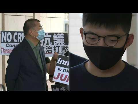 Hong Kong: Joshua Wong, Jimmy Lai arrive in court