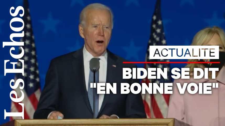 Illustration pour la vidéo Biden affirme qu'il est « en bonne voie de gagner cette élection »