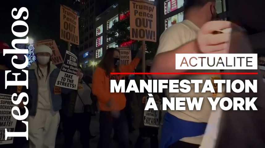 Illustration pour la vidéo Dans l'attente des résultats, une manifestation contre Donald Trump à New York