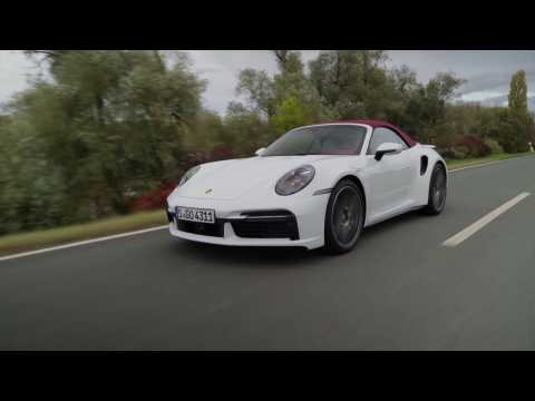 The new Porsche 911 Turbo Cabriolet in Carrara White in Driving Video
