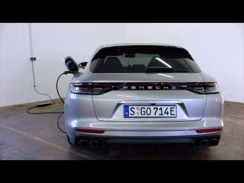 The new Porsche Panamera 4 E-Hybrid Sport Turismo in GT-Silver Metallic Charging