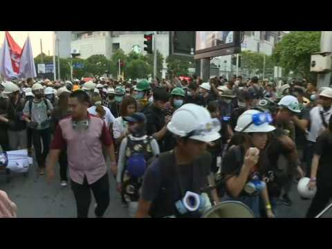 Thai pro-democracy protesters gather for march to the German embassy