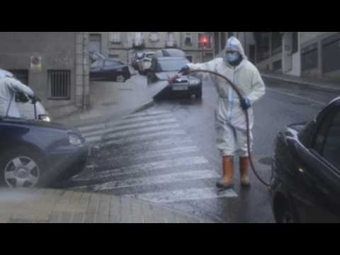 Empty streets at night and disinfection in the morning in Spanish city of Orense