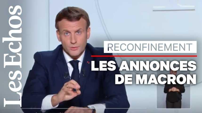 Illustration pour la vidéo Reconfinement : les annonces clefs d'Emmanuel Macron