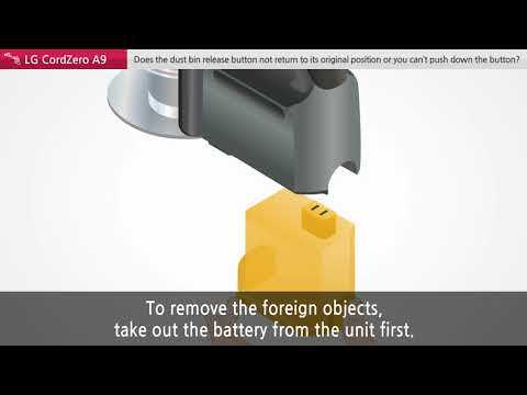 A9 Cordzero Vacuum: Dust Bin Release Button