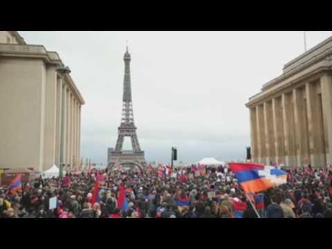 French-Armenian community protest against Turkey in Paris
