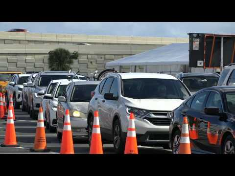 Cars line up at Miami Covid testing site ahead of Thanksgiving