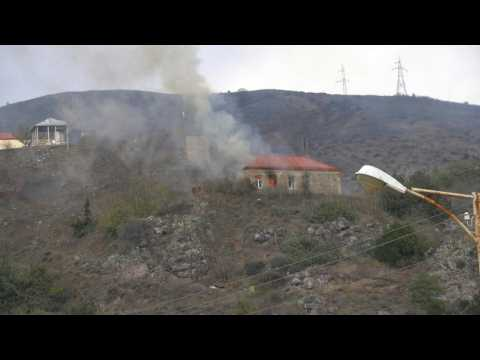 Houses burn ahead of the handover of Lachin district to Azerbaijan