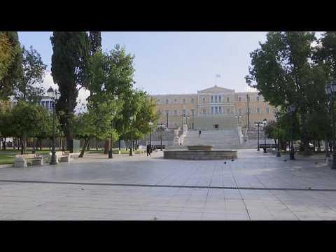 Empty streets in Athens as coronavirus lockdown begins in Greece