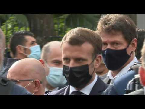 Nice attack: President Emmanuel Macron arrives at Notre-Dame de Nice basilica
