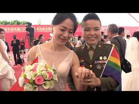 Mass military wedding in Taiwan includes two same-sex couples
