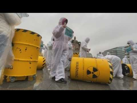 Environmental activists protest against nuclear power in Seoul