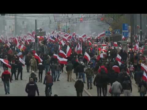 Far-right groups hold independence day march and car parade in Warsaw